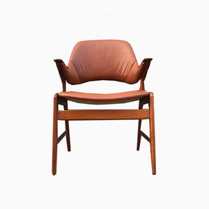 Teak and Leather Armchair from N. A. Jørgensen, 1960s