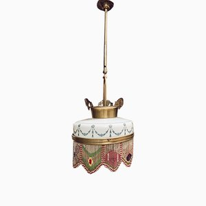 Mid-Century Opaline Glass and Brass Ceiling Lamp
