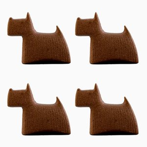Ceramic Scottish Terriers by Stig Lindberg, 1960s, Set of 4