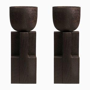 Iroko and Oak Goblet Bowls by Arno Declercq, Set of 2