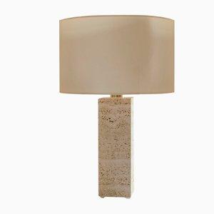 Lámpara de mesa esculpida en travertino de Brajak Vitberg