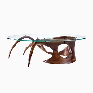 Sculpted Black Walnut Coffee Table by Gildas Berthelot