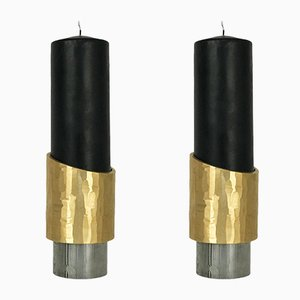 Solid Brass Avalon Candleholders by William Guillon, Set of 3