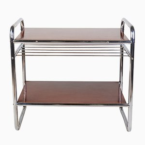 Bauhaus Style Tubular Steel and Linoleum Side Table, 1940s