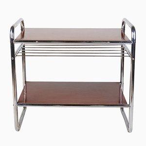 Table d'Appoint Style Bauhaus en Acier Tubulaire et Linoléum, années 40