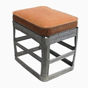 Industrial Leather Stool, 1940s