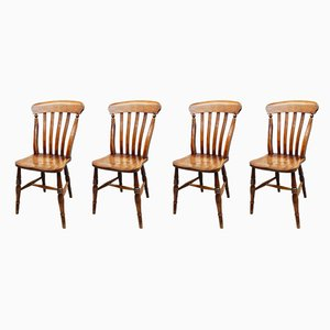 Antique Beech and Elm Windsor Dining Chairs, Set of 4