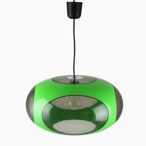 Lámpara de techo vintage verde de Luigi Colani
