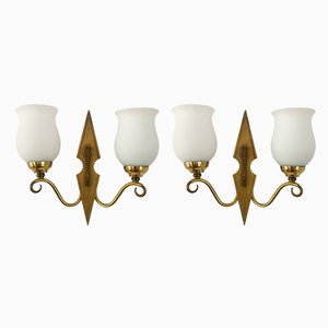 Brass and Opaline Sconces, 1950s, Set of 2