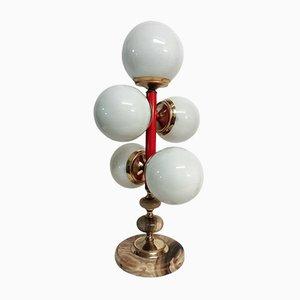 Lámpara de mesa de madera lacada y ónix, años 70