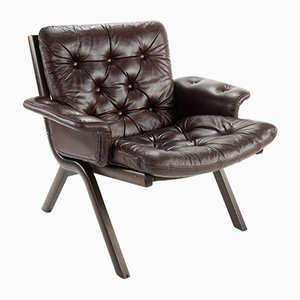 Vintage Bentwood and Brown Leather Armchair