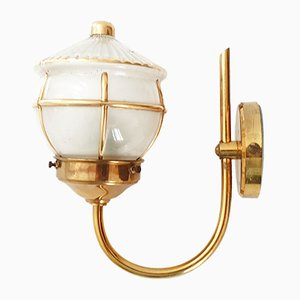 Vintage French Gilded Brass and Glass Sconce, 1950s