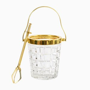 Mid-Century Crystal Glass and Gold Plated Ice Bucket and Tongs from Val Saint Lambert