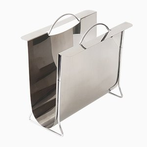 Vintage Stainless and Chrome-Plated Steel Magazine Rack, 1970s
