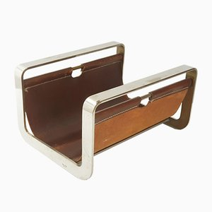 Vintage Leather and Chrome-Plated Steel Magazine Rack for Jean-Paul Créations, 1970s