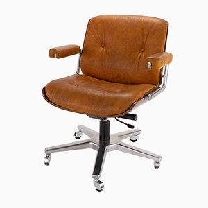 Leather and Plywood Swivel Chair by Martin Stoll Giroflex for Giroflex, 1960s