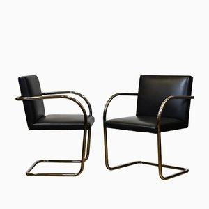 Sedie Brno in acciaio tubolare e pelle nera di Mies van der Rohe per Knoll, anni '80, set di 2