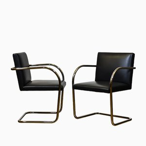 Tubular Steel and Black Leather Brno Chairs by Mies van der Rohe for Knoll, 1980s, Set of 2