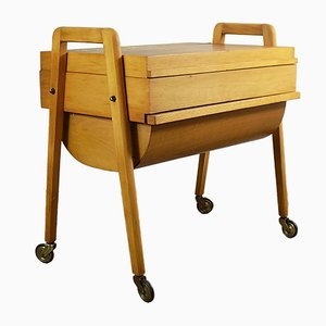 Mid-Century Beech and Walnut Sewing Box, 1960s