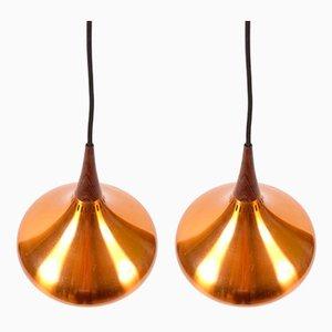Lámparas de techo Mid-Century de palisandro de Johannes Hammerborg para Fog & Mørup. Juego de 2
