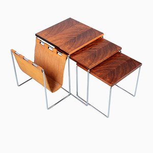 Rosewood and Leather Nesting Tables with Magazine Rack from Brabantia, 1960s, Set of 3