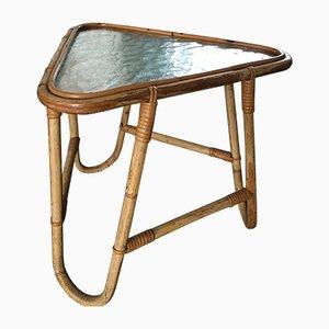 Mesa auxiliar vintage de ratán y vidrio de Rohé Noordwolde, años 50