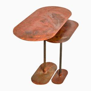 Gerostete ellipsenförmige Tische von Pia Chevalier, 2er Set