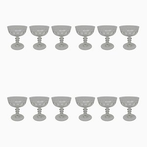 Antique French Champagne Glasses, Set of 12