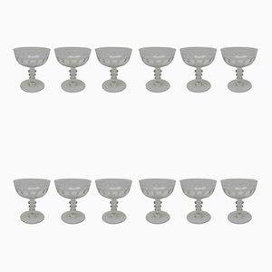 Verres à Champagne Anciens, France, Set de 12