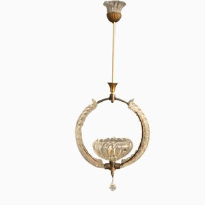 Murano Glass and Bronze Pendant Lamp by Ercole Barovier, 1940s