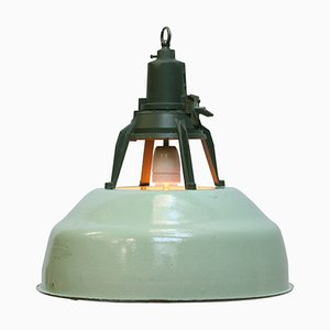 Lampe à Suspension Industrielle Vintage en Émail Vert, années 50