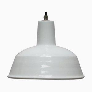 Vintage Industrial White Enamel Factory NOS Pendant Lamp, 1950s