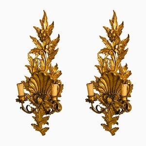 Apliques de madera dorada, años 40. Juego de 2
