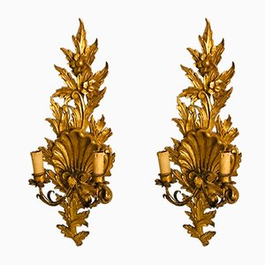 Gilded Wooden Sconces, 1940s, Set of 2