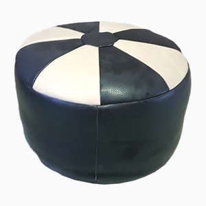 Mid-Century Black-and-White Ottoman, 1970s