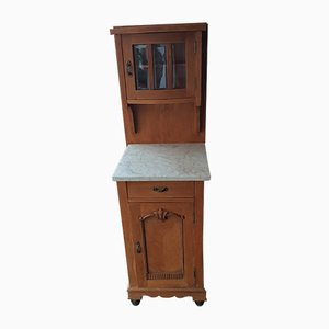 Antique Wood, Cut Glass, and Marble Cabinet, 1930s