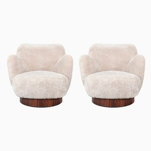 Vintage Rosewood Swivel Chairs by Vladimir Kagan for Directional, Set of 2