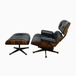 Sessel & Fußhocker von Charles & Ray Eames für Vitra, 1970er