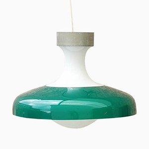 Lampada da soffitto grande Mid-Century in vetro lattimo e plastica, 1968