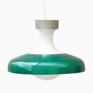 Large Mid-Century Milk Glass and Plastic Ceiling Lamp, 1968