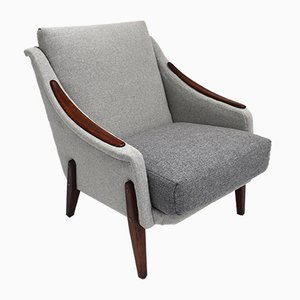 Danish Grey Wool and Teak Armchair, 1960s