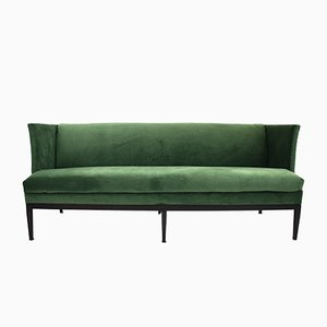 Mid-Century Danish Green Velvet Three-Seater Sofa, 1960s