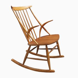 Rocking-chair Modèle IW3 par Illum Wikkelsø pour Niels Eilersen, 1958