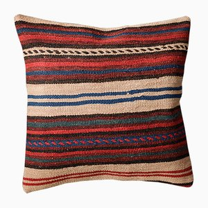 Beige, Red and Burnt Orange Kilim Pillow Cover by Zencef Contemporary