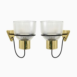 Model 1112 Brass and Molded Glass Sconces by Tito Agnoli for Oluce, 1960s, Set of 2