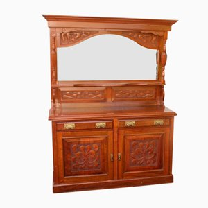Large Antique Carved Walnut Dresser with Mirror Back, 1910s