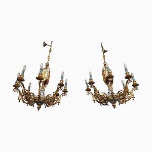 Lámparas de araña Mid-Century de bronce y porcelana de Sevres. Juego de 2