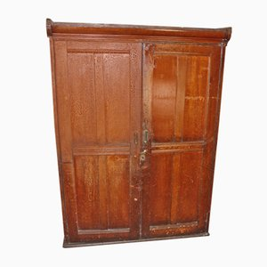 Antique Pine 2-Door School Cupboard with Shelves, 1900s