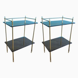 French Brass and Glass Side Tables, 1970s, Set of 2