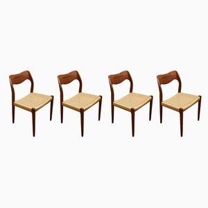 Dänische Modell 71 Esszimmerstühle aus Teak von Niels Otto Møller für J.L. Møllers, 1960er, 4er Set